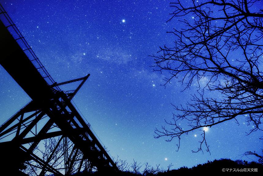 【天体写真】旧立場沢川橋梁と夏の大三角形